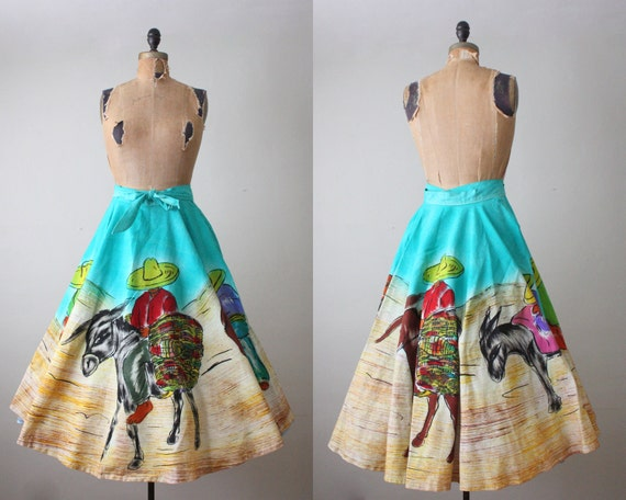 vintage 1950's southwestern circle skirt