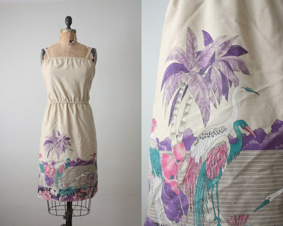 1970's dress - bird print sundress