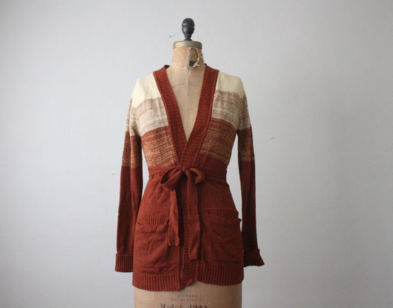 wrap sweater - 1970's ombre wrap cardigan