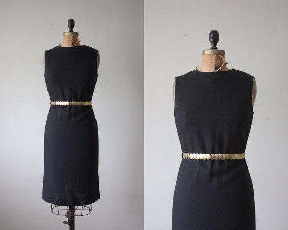 60s dress - 1960s black wiggle dress