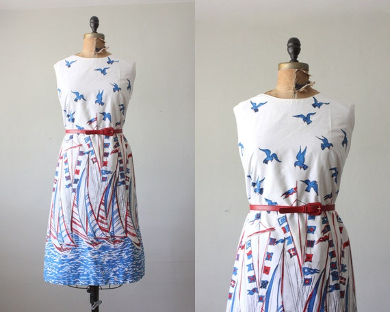 RESERVED  nautical dress - 1960's bird and sailboat dress