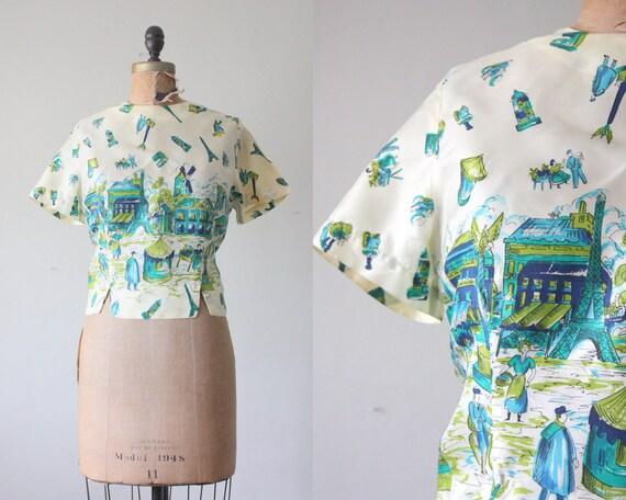 50s blouse - silk paris blouse