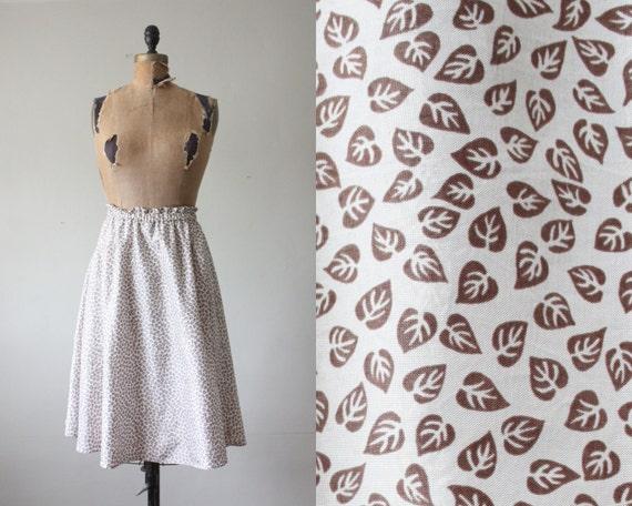 vintage skirt - leaf print skirt