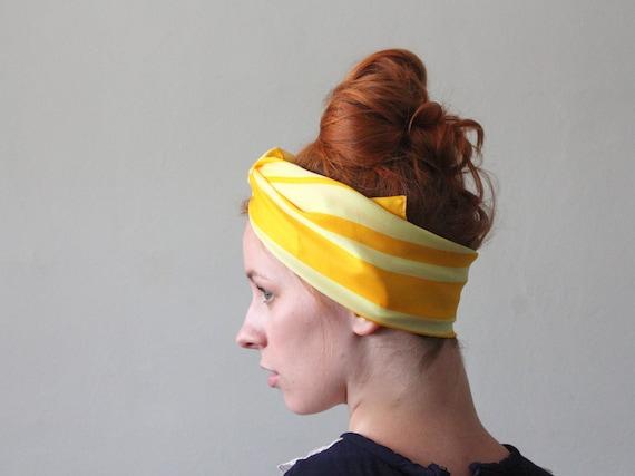1960's lemon yellow striped scarf
