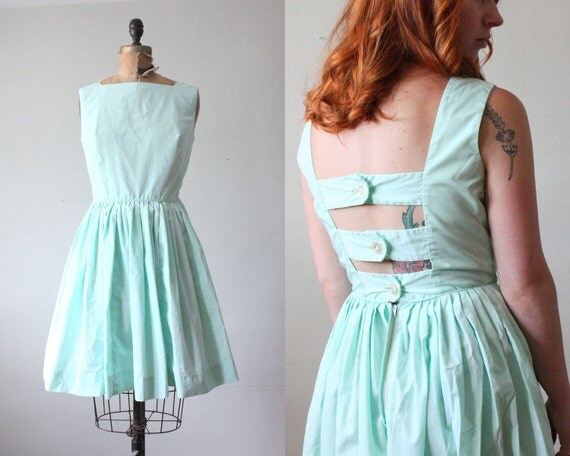 1950's dress - mint green party dress