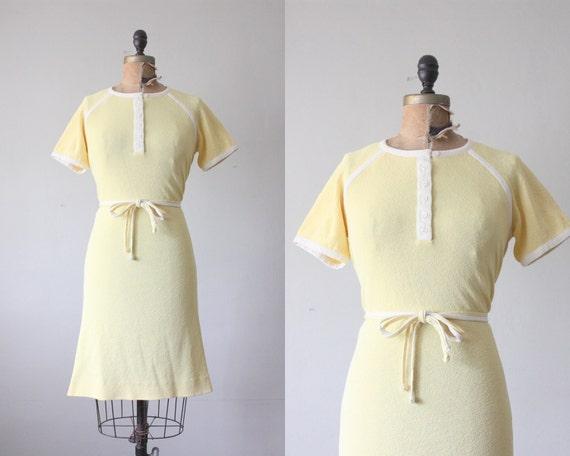 vintage 1970's dress - lemon yellow day dress