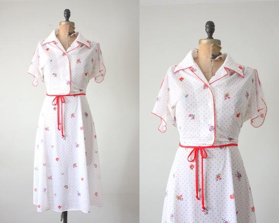 70s dress - 1970s floral day dress