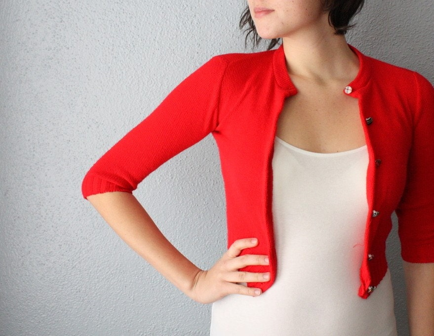 Like this item? - Red Cropped Cardigan