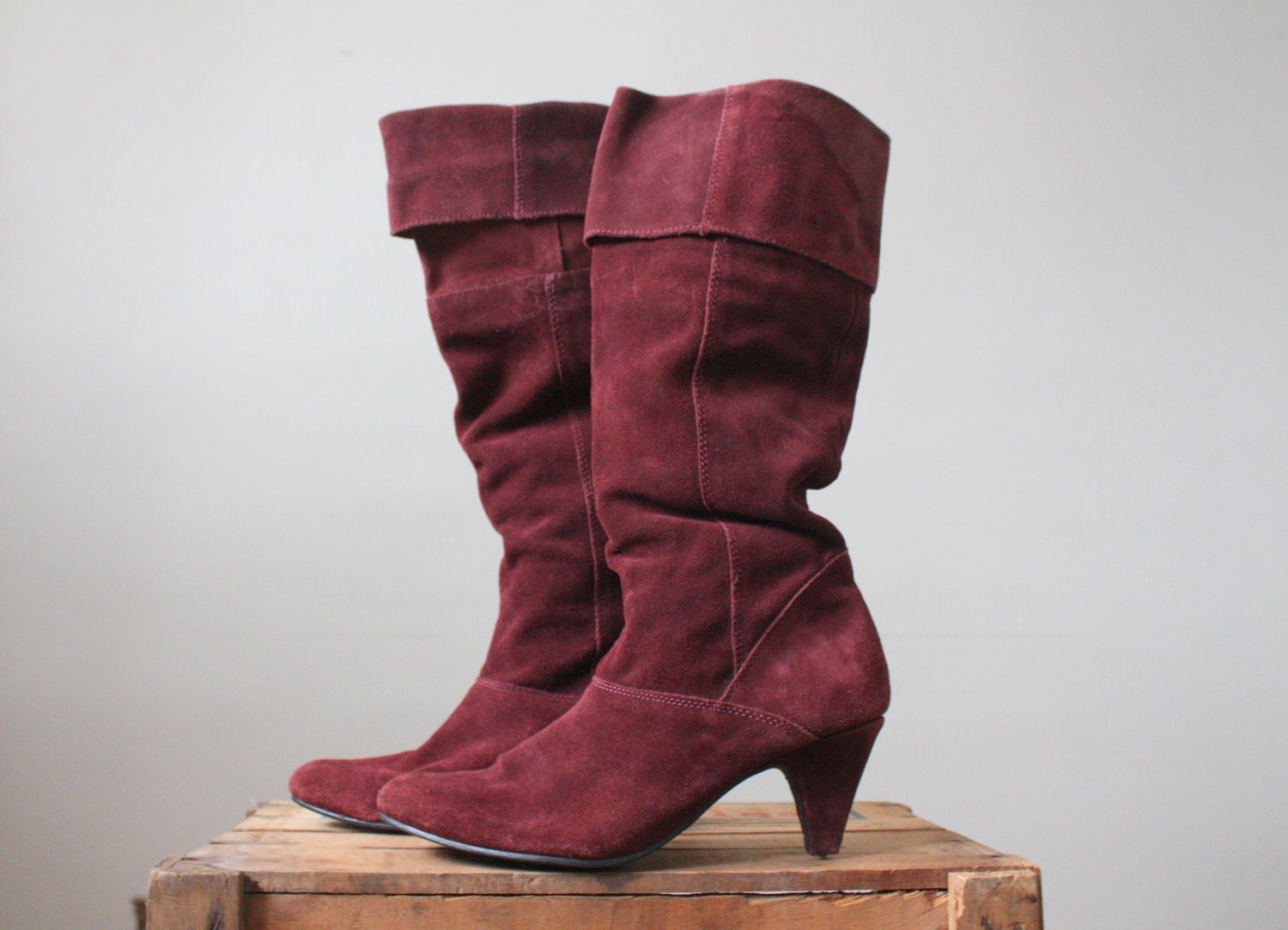suede boots knee high boots oxblood suede boots size 9