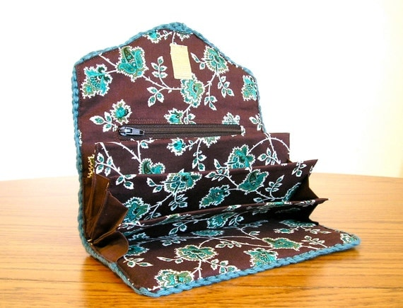 Receipt wallet in deep teal and chocolate brown
