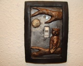 Owl Great Horned Cute Light Switch Cover Metallic Silver Polymer Clay Lightswitch Plate with Tree and Moon