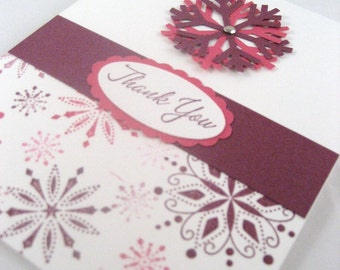 Winter Snowflake Blank Thank You Notes Set of 10
