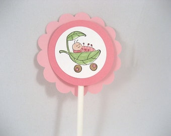 Cute as a Bug Baby Girl Cupcake Toppers Set of 12