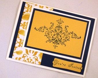 Regal Invitation Sample - Navy/Yellow