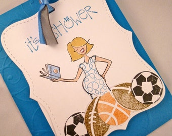 Sports Themed Baby Boy Shower Invitation Sample