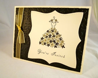 Wedding Dress Bridal Shower Invitation Sample - Ivory, Black and Gold