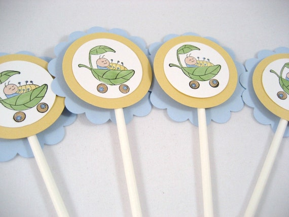 Baby Boy Shower Cupcake Toppers - Cute as a Bug
