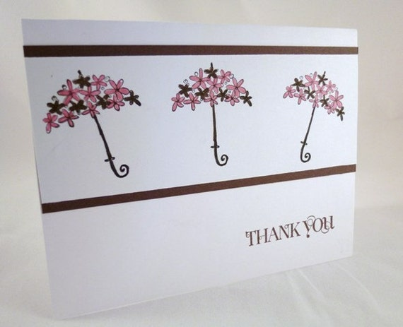 Bridal/Baby Shower Umbrella Thank You Card Set of 10