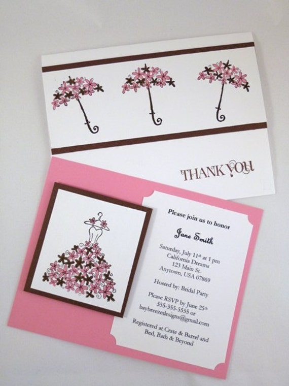 Bridal Shower Invitation with matching Thank You Card Set