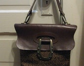 Vintage Equestrian Style Horseshoe Leather and Tweed Purse
