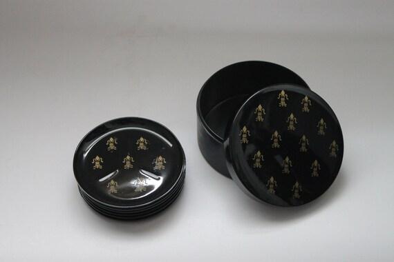 ON SALE 50% OFF - Vintage Fleur De Lis Davar Black Lacquer Coaster Set