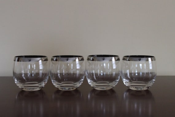 RESERVED - ON SALE - Vintage Set of Four Mad Men Dorothy Thorpe Style Silver Rim Roly Poly Glasses
