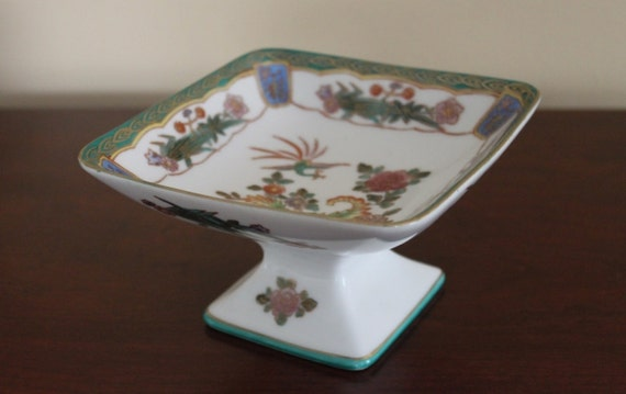 ON SALE - Vintage Asian Oriental Chinoiserie Square Footed Porcelain Dish
