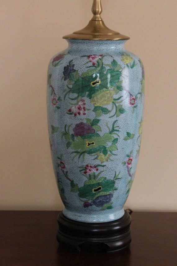 Vintage Large Turquoise Floral Asian Oriental Chinoiserie Style Lamp