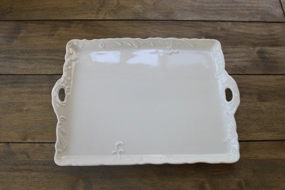 Vintage Shabby Chic White Porcelain Handled Vanity Tray / Serving Tray