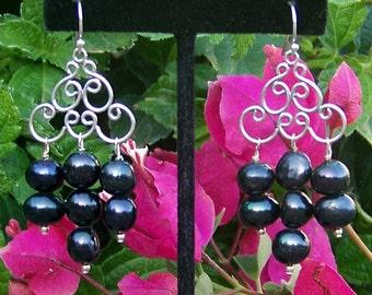 Black Pearl Chandelier  Earrings