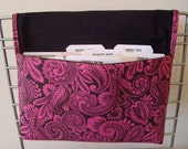 Coupon Organizer / Budget Organizer Holder - Attaches To Your Shopping Cart- Hot Pink Paisley
