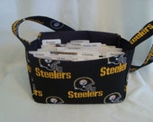 Super Size Fabric Coupon Organizer  Box / Holder- Attaches to your Shopping Cart- Pittsburgh Steelers Or any NFL
