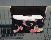 10% OFF  Coupon Organizer / Budget Organizer Holder- Attaches to your Shopping Cart / Black with Pink Paisleys