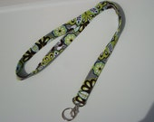 Lanyard - Key Chain / ID Badge Holder -LIME FLORAL