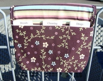 Fabric Coupon Organizer / Budget Organizer Holder - Attaches to Your Shopping Cart -