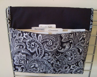 40% Off Coupon Organizer / Budget Organizer Holder-  Attaches to your Shopping Cart- Black and White Paisley