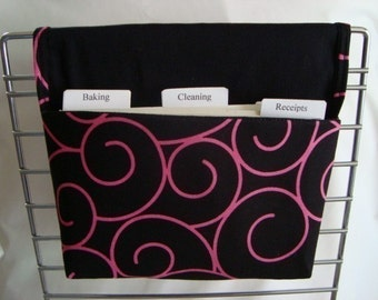 Coupon Organizer /Budget Organizer Holder - Attaches to Your Shopping Cart  / Black with Pink Swirls