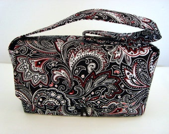 Coupon Organizer Holder Budget Organizer - Attaches to your shopping cart -Black and Red Paisley Pick your Size