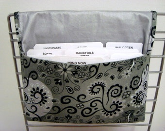 Coupon Organizer /Budget Organizer Holder-Attaches to Your Shopping Cart - Magical Silvery Moon with Silver Ironing Board Fabric  Lining