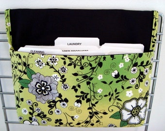 40% Off Coupon Organizer /Budget Organizer Holder-Attaches to Your Shopping Cart - Lime with Black Floral and Vine Leaves