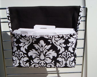 Coupon Organizer /Budget Organizer Holder  / Attaches To You Shopping Cart - Black and White Dandy Damask