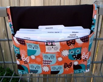 Coupon Holder Organizer Purse / Budget Organizer Holder - Attaches to Your Shopping Cart - Teal and Peach Owls