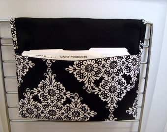 40% Off Coupon Organizer /Budget Purse Organizer Holder - Attaches to Your Shopping Cart -Diamond Floral black and White