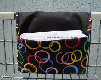 40% OFF -Coupon Organizer Cash Budget Organizer Holder- Attaches to your Shopping Cart - Rainbow Color Circles