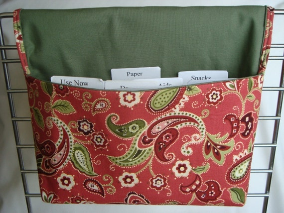 Coupon Organizer /Budget Organizer Holder  - Attaches to your Shopping Cart- Rust and Olive Green Paisley