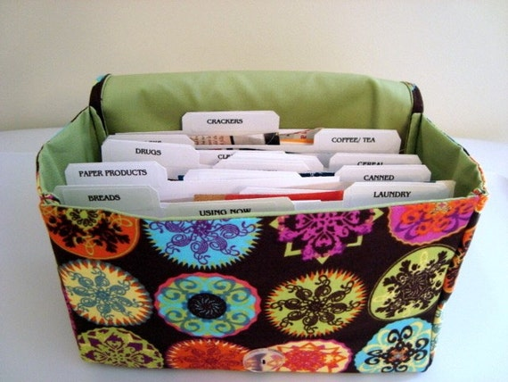 Super Size Fabric Coupon Organizer Holder Box- Attaches to your Shopping Cart-Mandala on Coco Brown
