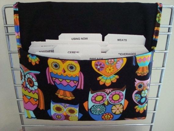 Fabric Coupon Organizer Holder /Budget Organizer Holder - Attaches to Your Shopping Cart - Peace Retro Owls