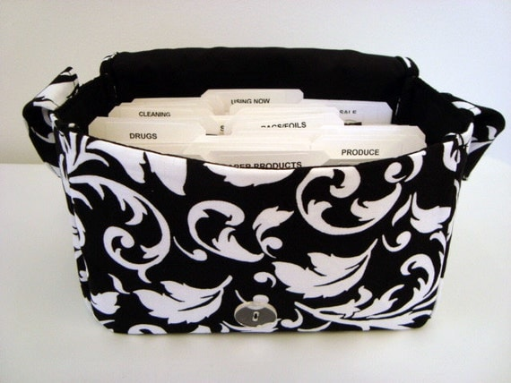 Super Size Fabric Coupon Organizer Holder Box- Attaches to your Shopping Cart - Black with White Scrolls