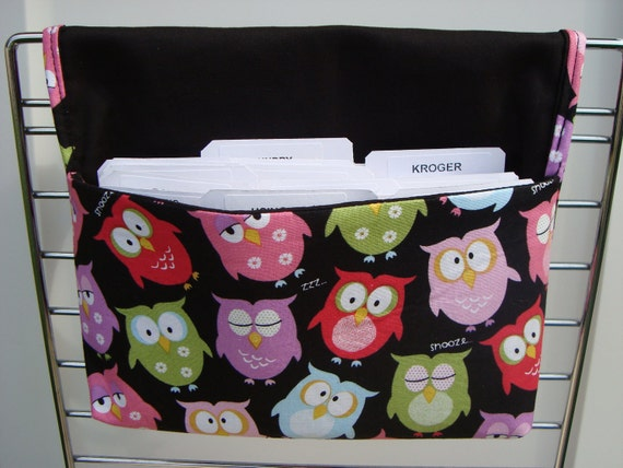 Fabric Coupon Organizer /Budget Organizer Holder - Attaches to Your Shopping Cart - Snooze Owls