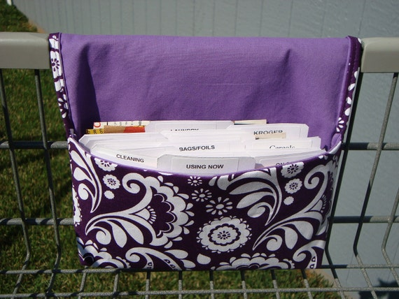 Fabric Coupon Organizer /Budget Organizer Holder - Attaches to Your Shopping Cart - Purple and White Floral